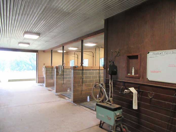Washing stalls for the horses that are boarded.
